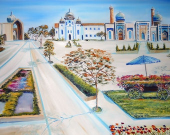 Central Asian Vacation, Dan Leasure Oil, Asian Vacation Souvenir Painting, 36x25.5 in.