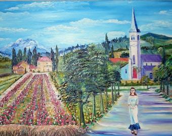 Switzerland Visitation, Landscape Switzerland, Vineyards French Girl from Lyons,  40 x 25 in. Dan Leasure Oil