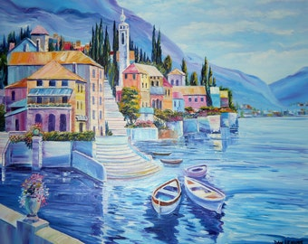 Lake Como Italy, Italy Oil Painting, Mediteranean Lake Villas,Resort in Italy, Boats, Dan Leasure Oils