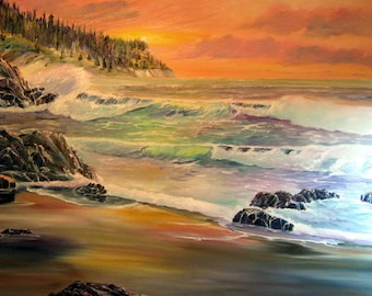 Pacific Rapture, Ocean Oil Painting, Orange Sunset, Dan Leasure Oils, Oregon Artist 25 x 36 in