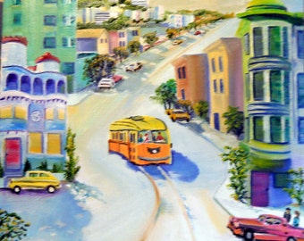 San Francisco Streetcar, Sentinel Building, Coppola Restaurant, Coit Tower, Dan Leasure Oil,  Framed 17 x 22 inches