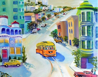 San Francisco Living, Victorian Home Art, Streetcar, San Francisco Art, Coit Tower, Dan Leasure Fine Art Print and Cards