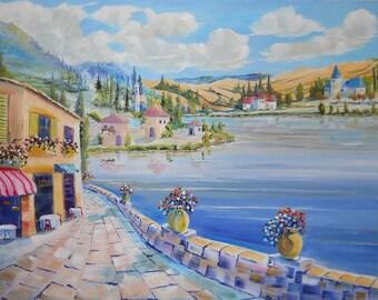 Italian Riviera Cafe, Northern Italy Summer Dream, Around The World Art, Dan Leasure Oil
