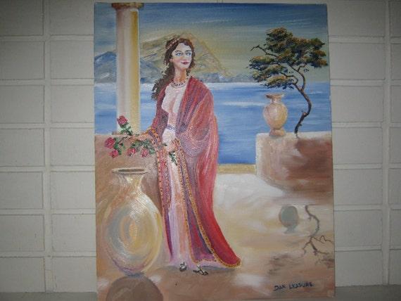 Goddess of The Realm, Romance, Mediterranean Woman, Greek Lady, Dan Leasure Original Oil,Framed 16 x 20 inches