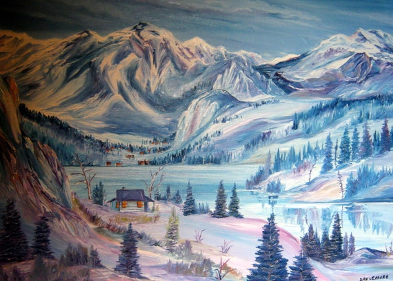 Nestled In At Winter, Wilderness Oil, Alaskan Wilderness Oil, 36x25 Framed,  Cabin in Winter, Snow,  Dan Leasure Oil