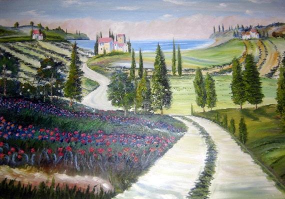 Paradise Drive, Landscape, Mediterranean Vineyard Estate, Heather, Road, The Sea, Europe Landscape, Dan Leasure, 37 x 26 in.