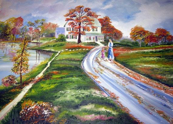 Autumn Landscape, Victorian Home, Mother and Child, Riverside Home, Mother and Child, Autumn Painting, Original Oil,Dan Leasure Oil