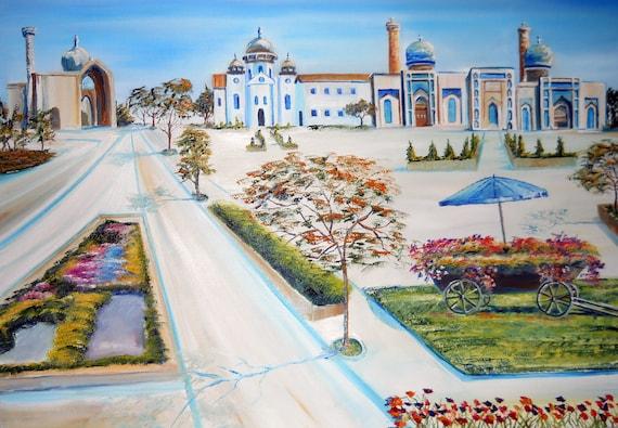 Uzbekistan, Russian Oil Painting, Bukhara, Samarkand, Russian City Painting, OOAK, 36x25 in, frame, Dan Leasure Oil