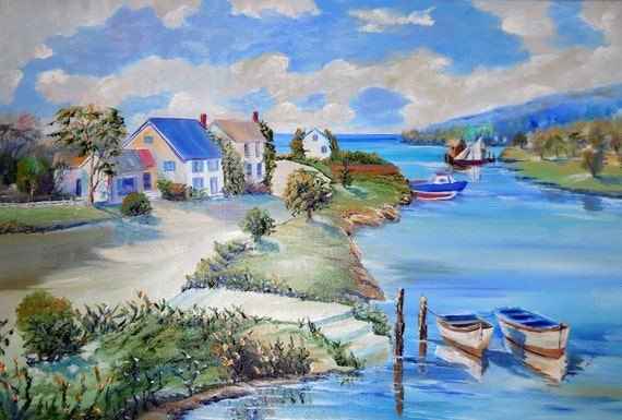 Waterside Dream Home, Fishing Boats, Puget Sound, Riverside Boats and Homes, Dan Leaure Original Oil, 33, 23