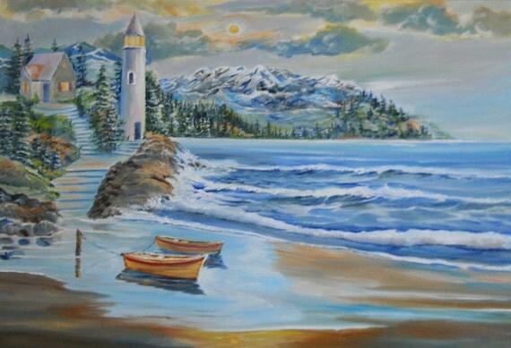 Smuggler's Cove Oil, Lighthouse At Twilight, Beach Cove, Rowboats Ashore, Original Oil Dan Leasure Original Oil, 33 x 23