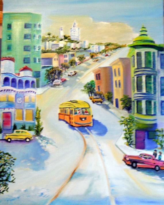 San Francisco Streetcar, Sentinel Building, Coppola Restaurant, Coit Tower, Dan Leasure Oil,  Framed 17 x 22 inches