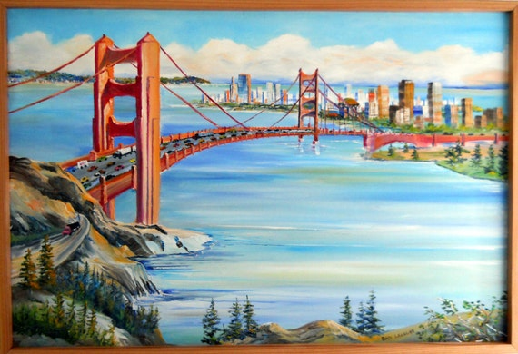 Golden Gate Way, San Francisco Bay Oil, Framed 36 x 24 in., Original Dan Leasure Oil, Framed 36 x 24 in
