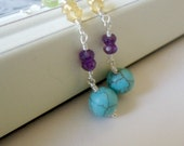 Turquoise Amethyst , Citrine , Peridot Wire Wrapped Gems Earrings