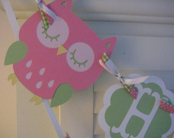 Owl Birthday Banner/ Custom Owl Banner/ Woodland Theme/ 1st Birthday