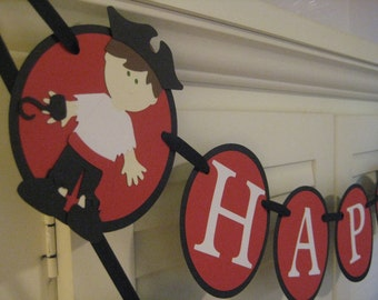 Pirate Banner/ Birthday Banner/ Garland/ Name/ Age/ Customized in any color combination/ Red/ Black/ White/ Party Decorations