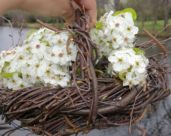 Organic Natural Birch FLOWER GIRL BASKET Country Primitive Farmhouse Rustic Wedding Table Centerpiece Harvest Easter Ostara