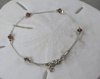 Brown AB Sterling Silver Bracelet
