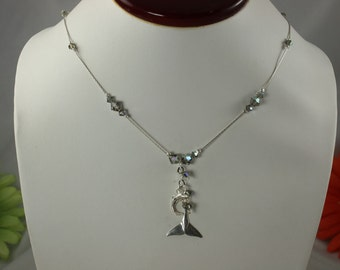 SALE Dolphin Necklace Gray Crystal