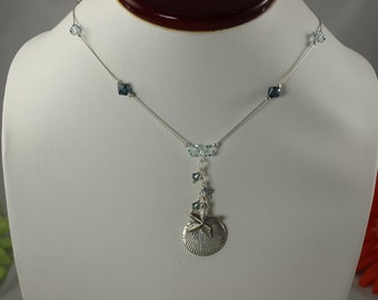 SALE Sea Shell Necklace Blues Crystal