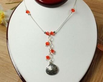 SALE Sand Dollar Necklace, Orange Sand Dollar Necklace, Crystal Sand Dollar Necklace, Silver Necklace