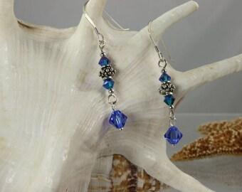 SALE Blue Earrings, Crystal Earrings, Sterling Silver Earrings