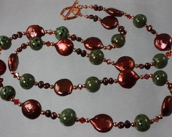 SALE Green Copper Pearl Necklace