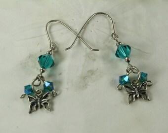 SALE Butterfly Earrings, Sterling Silver Earrings, Crystal Turquoise Earrings