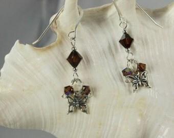 SALE Butterfly Earrings, Brown Earrings, Sterling Silver Earrings