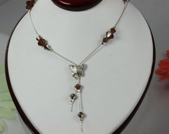 SALE Butterfly Necklace, Brown Crystal Necklace, Sterling Silver Necklace