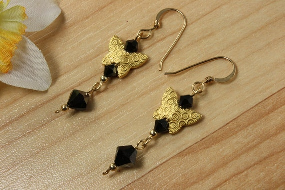 SALE Butterfly Earrings, Black Crystal Earrings, Butterfly Earrings