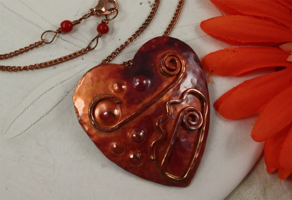 SALE Heart Necklace, My Heart Copper Necklace
