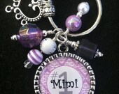PERSONALIZED Number 1 Mimi or Mother Lavendar & White Damask Bezel Pendant Beaded Keychain with Heart Charm