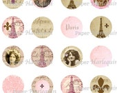 Digital Download French Vintage Style Round 1x1 Bottle Cap JEWELRY Altered Art SCRAPBOOK MAGNETS