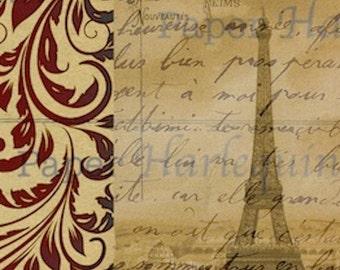 Paris Eiffel Tower Vintage Style French Ephemera DIY Scrapbook Journal ATC Digital Collage Sheet