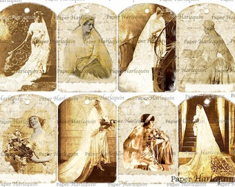 Wedding Bride Shower Antique TAG Digital Collage SET of 8 UNIQUE Gift Album Scrapbook Cards