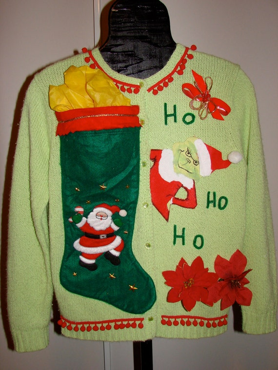 Medium ugly christmas sweater grinch with a ho ho ho flashy grinch