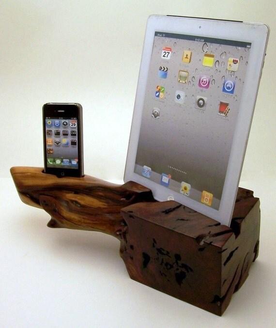 Manzanita Wood iPad Stand & iPhone Dock ICN 128