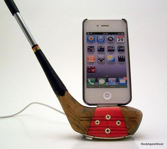 Vintage Genuine Persimmon Wood Golf Club iPhone Dock - ICN427
