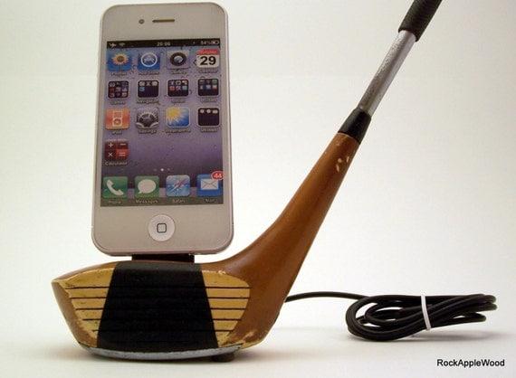 Vintage Resin Wood Golf Club iPhone Dock - ICN427
