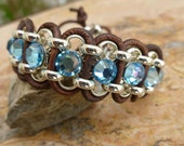 Brown Leather Cuff Bracelet with Aquamarine Blue Rhinestone Swarovski Crystals and Silver Chain