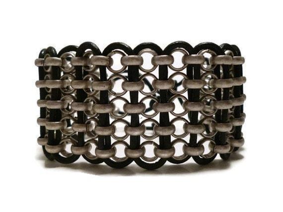 Black Leather Cuff Bracelet Silver Chain Wristband Womens Mens Rocker Jewelry Unique