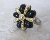 Black and Gold Flower Vintage Button Ring
