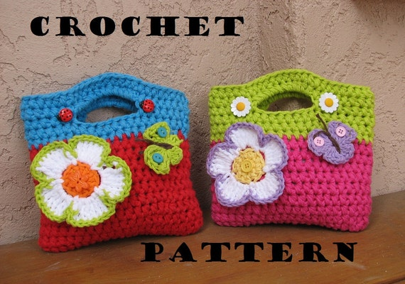 Crochet  Bag / Purse with Large Flower and Butterfly, Crochet Pattern PDF,Easy, Great for Beginners,  Pattern No. 10