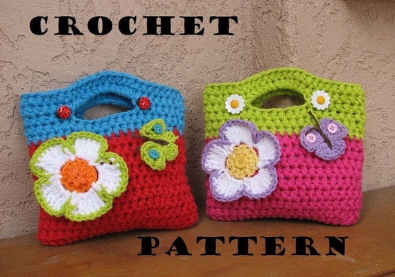 Crochet Satchel Bag Pattern : Crochet Bag / Purse with Large Flower and Butterfly, Crochet Pattern ...