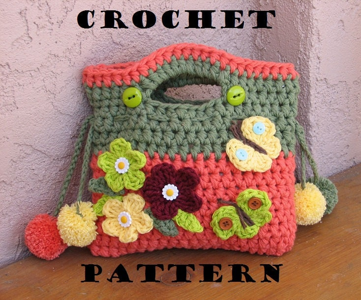 Beginners Crochet Bag Patterns : Girls Bag / Purse with Flowers Butterfly and Pom Pom Crochet