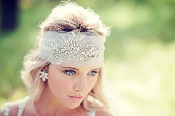 Bridal Headpiece - Crystal & Pearl Boho Veil - Made to Order