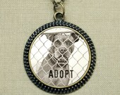 Rescue Jewelry - Zaire ADOPT Bronze Necklace, pitbull photo 30mm