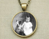 Photo Art Jewelry - Vintage Baby and Pitbull - Bronze Necklace 25mm