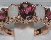 Natural Pink Tourmaline  Opal English 14K Rose Gold Eternity Anniversary Ring   Made in England Customize14K18KYellowRoseWhite
