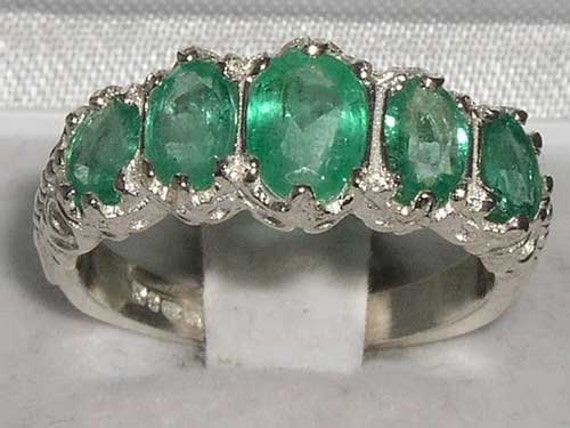 Gorgeous 14K Solid White Gold Five Genuine Precious Emerald Half Eternity Ring, Stackable Ring - Made in England- Customizable